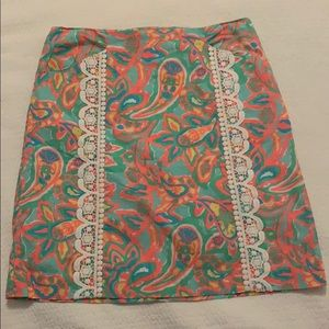 Lily Pulitzer SZ 4 skirt with lace detailing